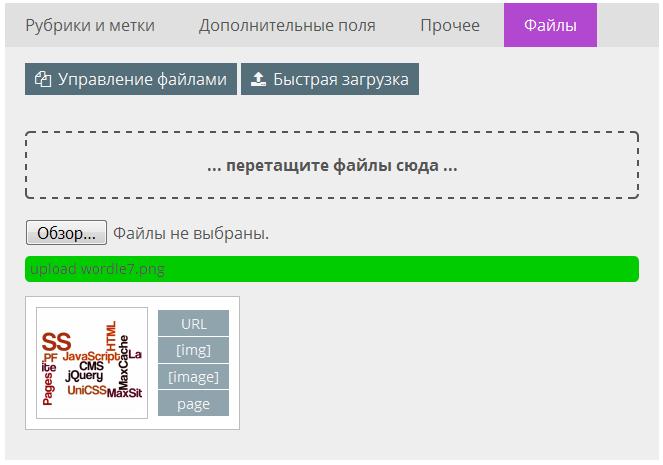 Быстрая загрузка файлов в MaxSite CMS