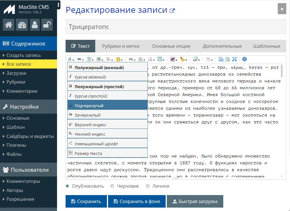 Текстовый редактор MaxSite CMS